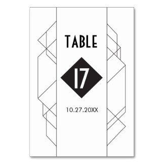 Modern Art Deco Table Number Cards