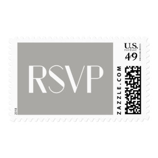 Modern Art Deco Text | Gray and White Wedding RSVP Postage