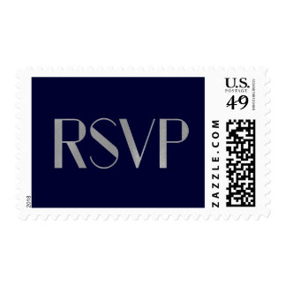 Modern Art Deco Text | Navy and Faux Silver RSVP Postage