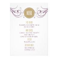 Modern Art Deco Wedding Menu Custom Invitation