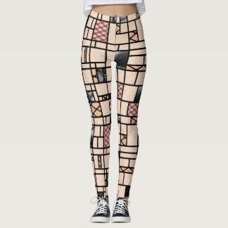 Modern Art Fishnet Skin & Leather Pattern Leggings