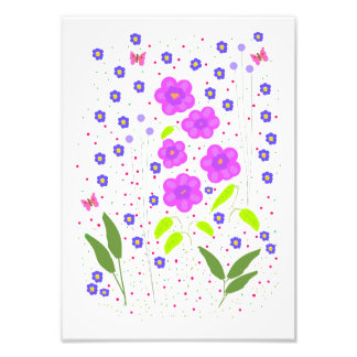 Modern Art Flowers, Naive style Photo Print