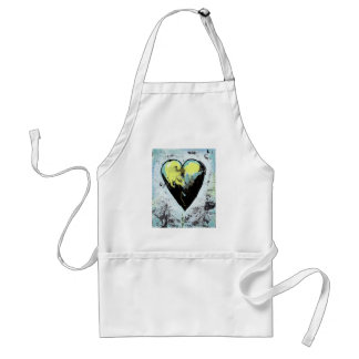 Modern art funky expressionist dark romantic heart adult apron