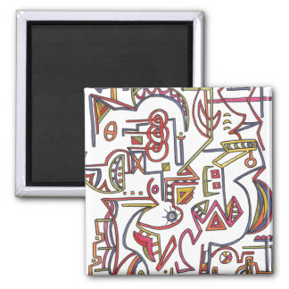 Modern Art - Geometric Whimsical Ink Drawing Magnet