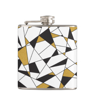 Modern Art Geometry -black and white with gold- Flask