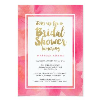 Modern Art Gold Pink Bridal Shower Card