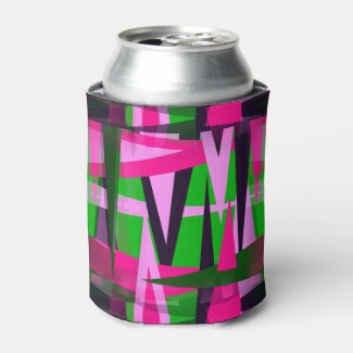 Modern Art Green and Pink Can Cooler