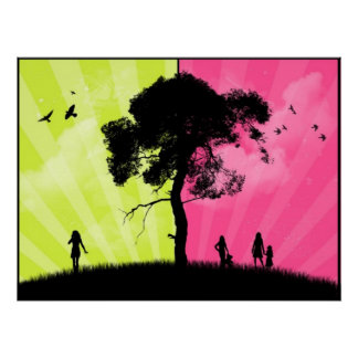 Modern Art - Green and Pink Sky With Tree Print