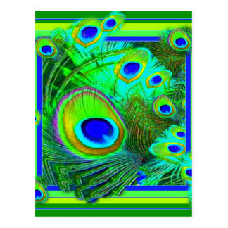 Modern Art Green Peacock Feather Eyes Gifts Postcard