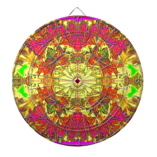 Modern Art Nouveau Floral by Sharles Dartboard With Darts