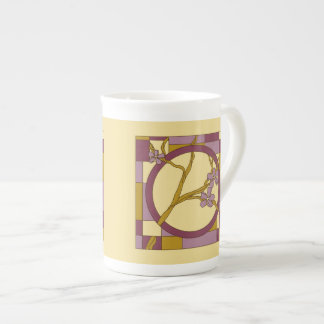 Modern Art Nouveau flowers circle purple Tea Cup