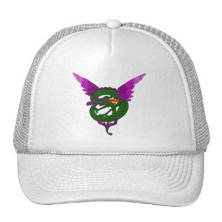 Modern Art Nouveau green and purple dragon Mesh Hat