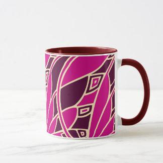 Modern art nouveau tessellations cerise and amber mug