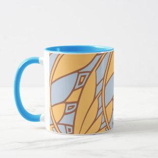 Modern art nouveau tessellations gamboge and azure mug