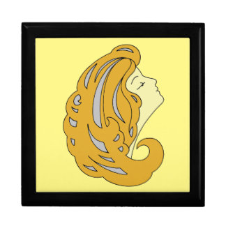 Modern Art Nouveau, woman with long hair (2) Gift Box