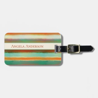 Modern Art Painted Stripes Designer Luggage Tag