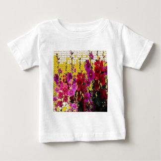 MODERN ART PINK & RED HOLLYHOCKS GARDEN BABY T-Shirt