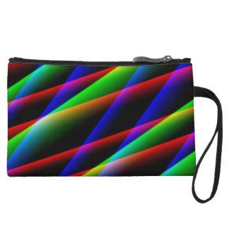 Modern Art Rainbow Line Intersect Mini-Clutch Wristlet