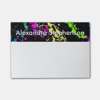 Modern Art Rainbow Neon Paint Splatter Custom Post-it Notes