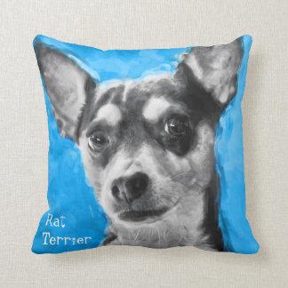 Modern Art Rat Terrier Throw Pillow