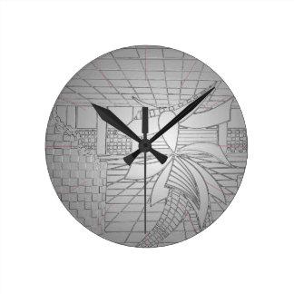 Modern Art Steel Grey Gunmetal Fashionista Fashion Round Clock