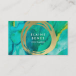 """Modern Art Turquoise Gold Business card<br><div class=""""desc"""">Stylish business card featuring paint textures and faux gold brush strokes</div>"""