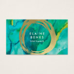 "Modern Art Turquoise Gold Business card<br><div class=""desc"">Stylish business card featuring paint textures and faux gold brush strokes</div>"