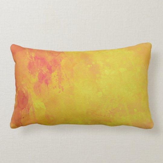 Modern Art Watercolor Abstract Yellow Orange Red Lumbar Pillow