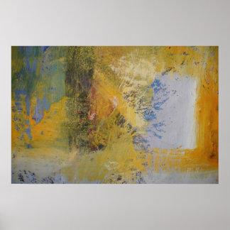 Modern Art Yellow Abstract Art Paint Print Poster