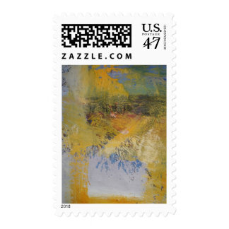 Modern Art Yellow Abstract Art Painting Postage