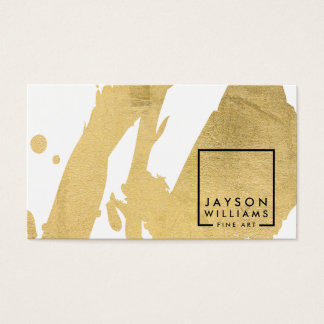 Modern Artist Abstract Faux Gold Brushstrokes Business Card