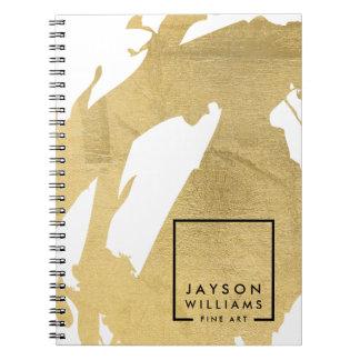 Modern Artist Abstract Faux Gold Brushstrokes Spiral Notebook