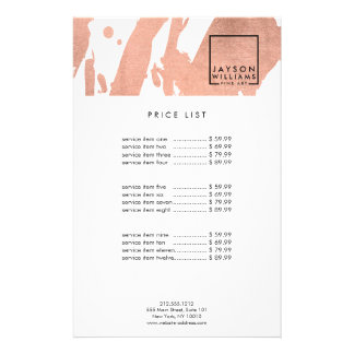 Modern Artist Abstract Faux Rose Gold Brushstrokes Flyer