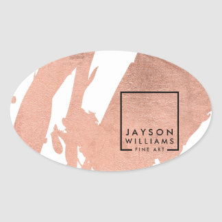 Modern Artist Abstract Faux Rose Gold Brushstrokes Oval Sticker
