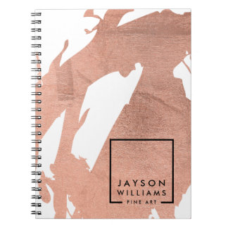 Modern Artist Abstract Faux Rose Gold Brushstrokes Spiral Notebook