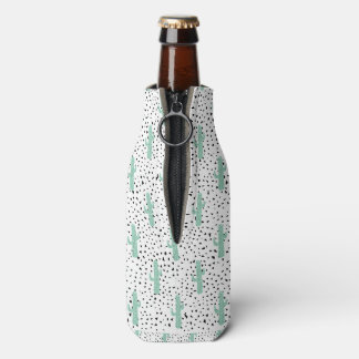Modern Artistic Abstract Cactus and Triangles Bottle Cooler