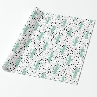 Modern Artistic Abstract Cactus and Triangles Wrapping Paper