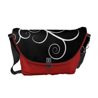 Modern ,artistic bag with white florals on black courier bags