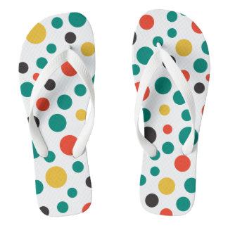 Modern Artistic Classy Colorful Polka Dots Flip Flops