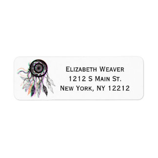 Modern Artistic Native American Dreamcatcher Label