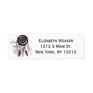 Modern Artistic Native American Dreamcatcher Label