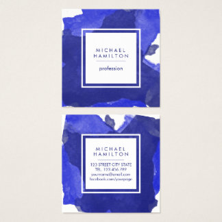 MODERN ARTISTIC WATERCOLOR SPLASH BLUE SQUARE BUSINESS CARD