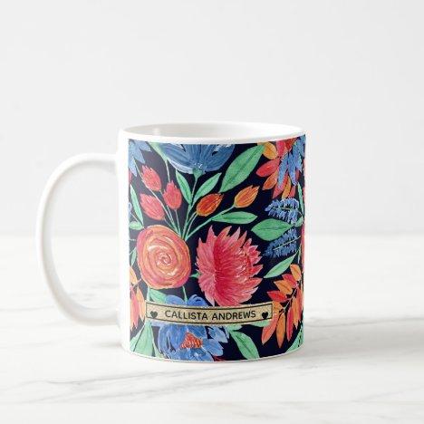 Modern Artsy Coral Blue Floral Watercolor Monogram Coffee Mug