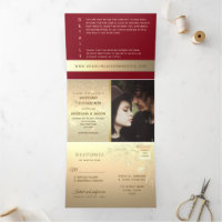 Modern Artsy Floral Lace Red & Gold Wedding Photo Tri-Fold Invitation