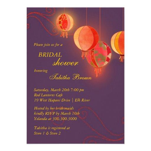 Modern Asian Lantern Fall Bridal Shower Invitation