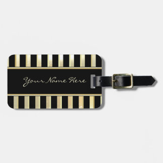 Modern Asymmetric Sparkly Champagne & Gold Stripes Bag Tag