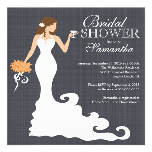 Modern autumn bride wine bridal shower invitations for Modern bridal shower invitations