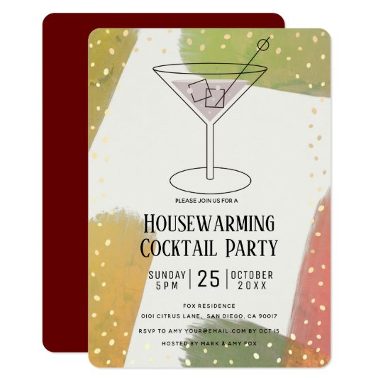 Modern Autumn Color Housewarming Cocktail Party Invitation