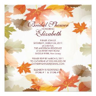 Modern Autumn Fall Leaves Bridal Shower Invitation