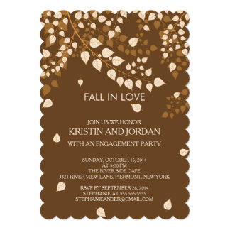 Modern Autumn Fall Leaves Engagement Party 5x7 Paper Invitation Card